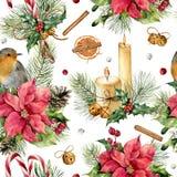 Картина seamles рождества акварели традиционная Вручите покрашенный орнамент с колоколами, робин, свечу, ягоды, падуб Стоковое фото RF