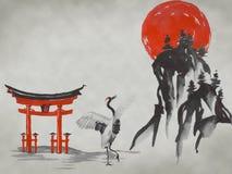 Картина sumi-e Японии традиционная Гора Фудзи, Сакура, заход солнца Солнце Японии Иллюстрация индийских чернил Японское изображен иллюстрация штока
