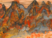 Картина Watercolour - горы Стоковая Фотография RF