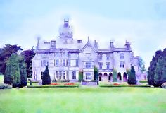 Картина Watercolour Усадьба Adare в лимерике графства, Ирландии стоковая фотография