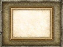 Картинная рамка на предпосылке холстины и древесины Стоковые Фото