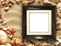 Картинная рамка на раковинах и предпосылке песка Стоковое Изображение