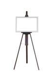Картинная рамка при деревянный изолированный мольберт стоковое фото