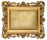 Картинная рамка стиля барокко золотая с холстом Стоковое Фото