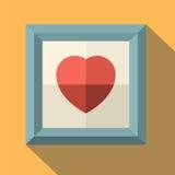Картинная рамка с красным сердцем Стоковые Изображения