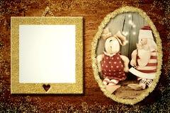 2 картинной рамки одной с Сантой Стоковые Фото