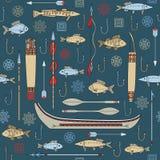 Безшовная картина индийского рыболовства Стоковые Фотографии RF