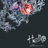 Картины акварели черепа цветков на хеллоуине охотятся Стоковое фото RF