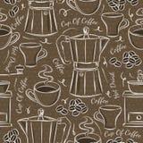 Картины Брайна безшовные с комплектом кофе иллюстрация штока
