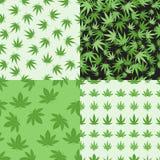 Картины вектора предпосылки марихуаны установленные безшовные Стоковые Изображения RF