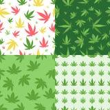 Картины вектора предпосылки марихуаны установленные безшовные Стоковое фото RF