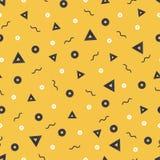 Картины в желтых цветах с геометрическими элементами Стиль битника картины соответствующий для плакатов, открыток, ткани или пюре Стоковые Фото