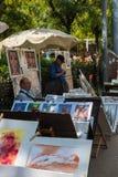 Картины для продажи на улице Барселоны Стоковые Изображения