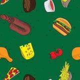 Картины еды doodle вектора нарисованные рукой безшовные Зеленая предпосылка иллюстрация штока