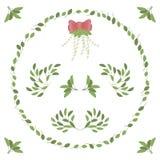 Картины и венок зеленых листьев обхватывают изменения состава хворостины углов вектора комплекта иллюстрация вектора