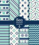 Картины моря безшовные. Собрание вектора. Стоковая Фотография
