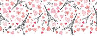 Картины повторения Парижа башни Eifel вектора граница безшовной горизонтальная разрывая с сердцами пинка дня валентинок St красны Стоковое Изображение
