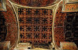 Картины потолка в церков Yemrehena Kristos, держателя Abun стоковая фотография