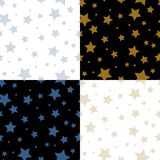 Картины простых звезд милые безшовные на черно-белом комплекте, векторе Стоковое фото RF