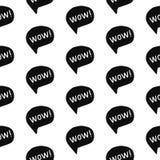 Картины слова вау шрифт exressive безшовной черным по белому бесплатная иллюстрация