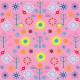 Картины цветков деревьев покрасили орнамент символов на розовой предпосылке бесплатная иллюстрация
