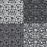 Картины черно-белой продажи безшовные Стоковое Фото