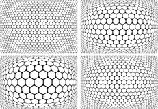 Картины шестиугольников Геометрические установленные предпосылки Стоковое Фото