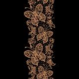 Картины шнурка безшовные в форме бабочек и жуков Стоковое Изображение