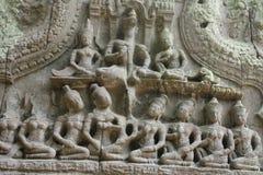 Картины штукатурки в Angkor Wat Стоковое Изображение