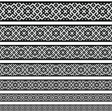 Картины элементов украшения границы в черно-белых цветах Геометрическая этническая граница в различных размерах установила собран иллюстрация вектора