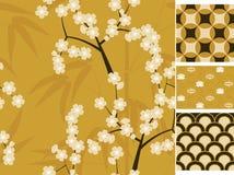 Картины японского вектора безшовные установили с бамбуком, Сакурой и традиционной иллюстрацией орнаментов Стоковые Фото