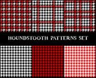 Картины Houndstooth checkered безшовные установили в красное черно-белое, вектор Стоковые Фото