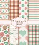 Картины Needlework безшовные вектор комплекта сердец шаржа приполюсный иллюстрация вектора