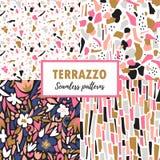 Картины Terrazzo безшовные Установленные ультрамодные абстрактные дизайны повторения абстрактный вектор предпосылки иллюстрация штока
