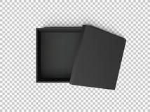 Картонная коробка квадратов черноты открытая пустая изолированная на прозрачной предпосылке Шаблон для продуктов дизайна, пакет м Стоковое Фото