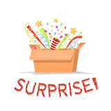 Картонная коробка подарка с текстом сюрприза Раскройте подарочную коробку с confetti, звездами Волшебная изолированная коробка та Стоковые Фотографии RF