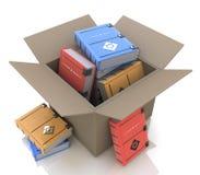Картонная коробка с книгами иллюстрация вектора