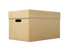 Картонная коробка с крышкой на белой предпосылке 3d представляют цилиндры image Стоковая Фотография RF