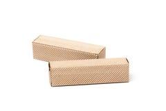 2 картонной коробки, изолированной на белизне Стоковые Фото