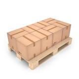 Картонные коробки на деревянном паллете & x28; 3d illustration& x29; Стоковое Изображение