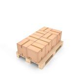 Картонные коробки на деревянном паллете & x28; 3d illustration& x29; Стоковые Изображения