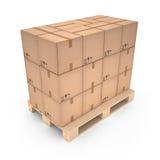 Картонные коробки на деревянном паллете & x28; 3d illustration& x29; Стоковые Фотографии RF