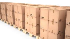 Картонные коробки на деревянных паллетах & x28; 3d illustration& x29; Стоковые Изображения RF
