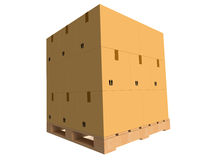 Картонные коробки на паллете Стоковые Изображения