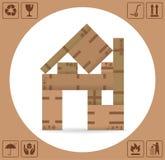 Картонные коробки с упаковывая символами иллюстрация штока