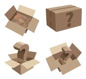 Картонные коробки упаковки с неизвестным содержанием Стоковое Изображение