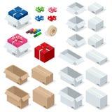 Картонные коробки, установили раскрытый или закрытый, загерметизированный с форматом ленты большим или малым Плоская изолированна Стоковое фото RF