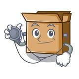 Картон доктора помещен над таблицей мультфильма иллюстрация вектора