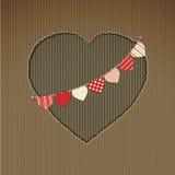Картон сердца валентинки отрезанный вне с овсянкой иллюстрация вектора