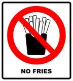 Картофель фри стопа французский Фаст-фуд запрета жирный Отрезанные картошки в коробке бумаги Эмблема против еды Красный знак запр бесплатная иллюстрация